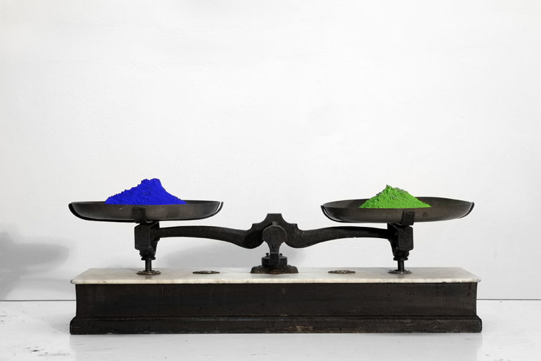 2 © Lydia Dambassina, 2011, A blue-green Δαμπασίνα byzantine toy, scale, color pigments, 25X76,5X20cm