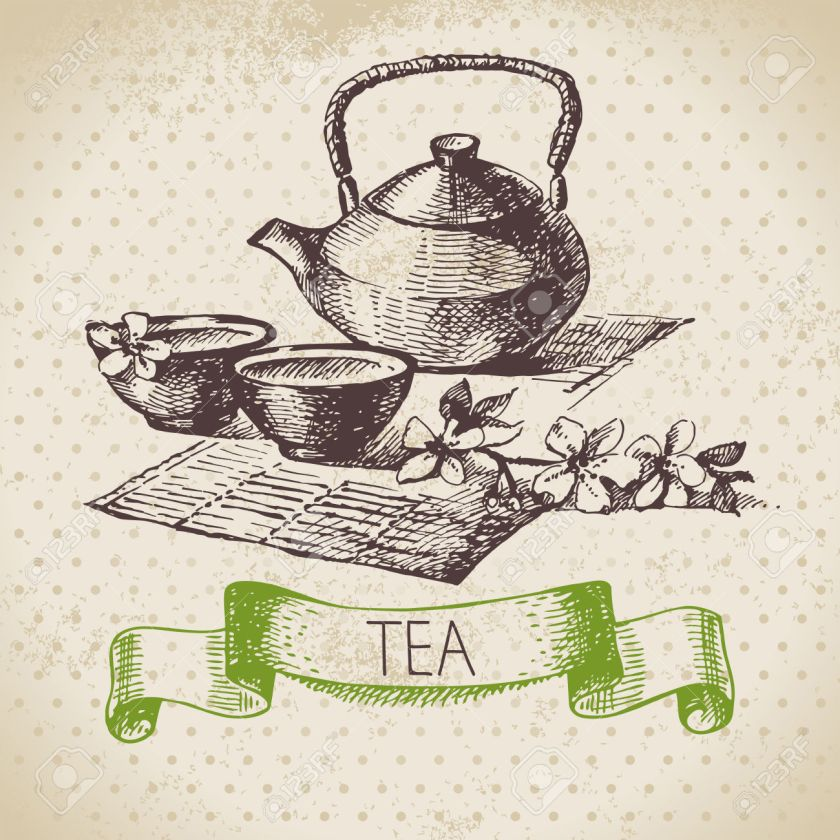 Tea vintage background. Hand drawn sketch illustration. Menu des