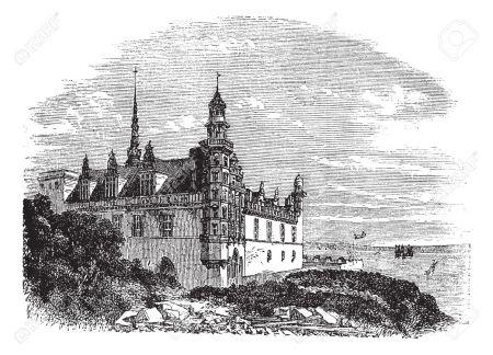 13771767-Kronborg-Castle-in-Helsingor-Denmark-during-the-1890s-vintage-engraving-Old-engraved-illustration-of-Stock-Vector