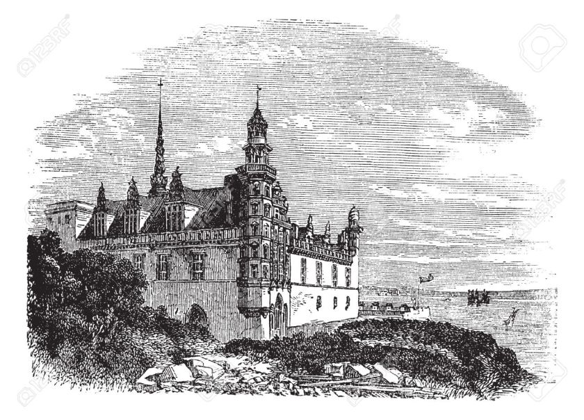 13771767-Kronborg-Castle-in-Helsingor-Denmark-during-the-1890s-vintage-engraving-Old-engraved-illustration-of-Stock-Vector