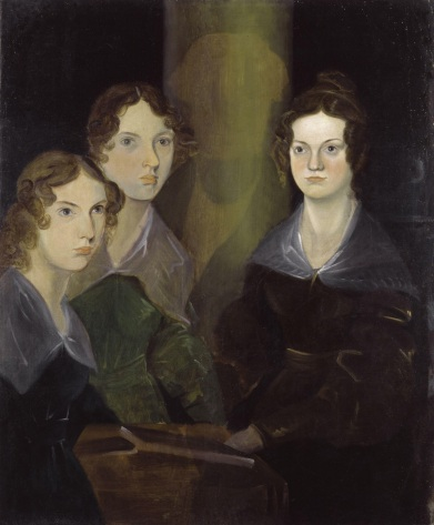 A painting of the three Brontë sisters; from left to right, Anne, Emily, and Charlotte. In the center of portrait is the shadow of Branwell Brontë, the artist, who painted himself out.
