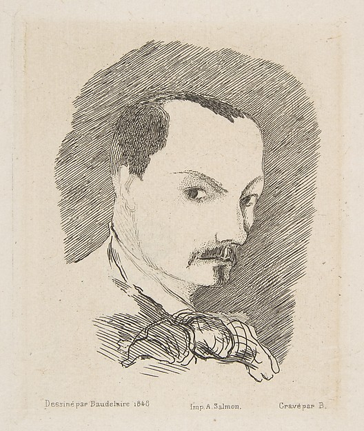 Portrait of Charles Baudelaire, after his own design of 1848 Artist and engraver Félix Bracquemond