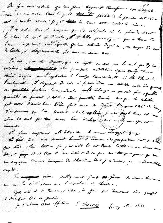 This is the last page of letter from Évariste Galois, French mathematician, to his friend Auguste Chevalier. Galois wrote this on the night before the duel to death.