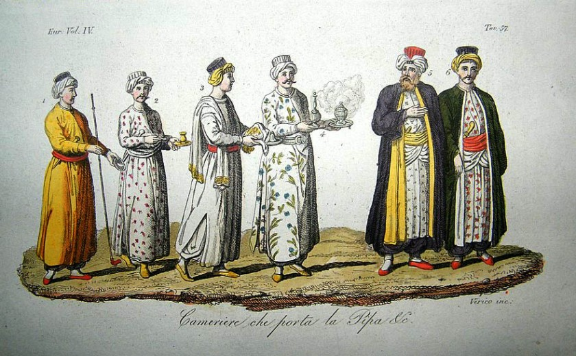 turkey-c1830-hand-col-etching-costume-pipe-smoking-5583-p