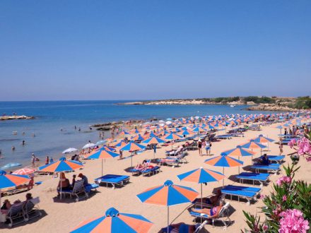 cyprus-paphos-coral-beach-sunbeds-umbrellas-people