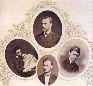 Τα αδέλφια Nobel (με τη φορά του ρολογιού): Robert, Alfred, Ludvig and baby Emil. Η φωτογραφία είναι από το St. Petersburg, περίπου το 1843.
