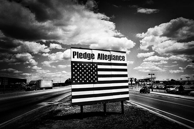 A pledge allegiance sign near Newark airport in Newark, NJ on July 14, 2009.