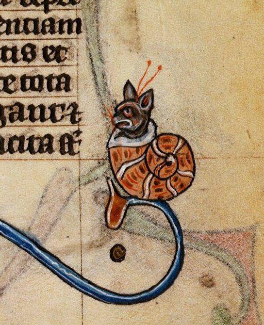 Snail-cat, in Maastricht Hours, Stowe Manuscript, closer view