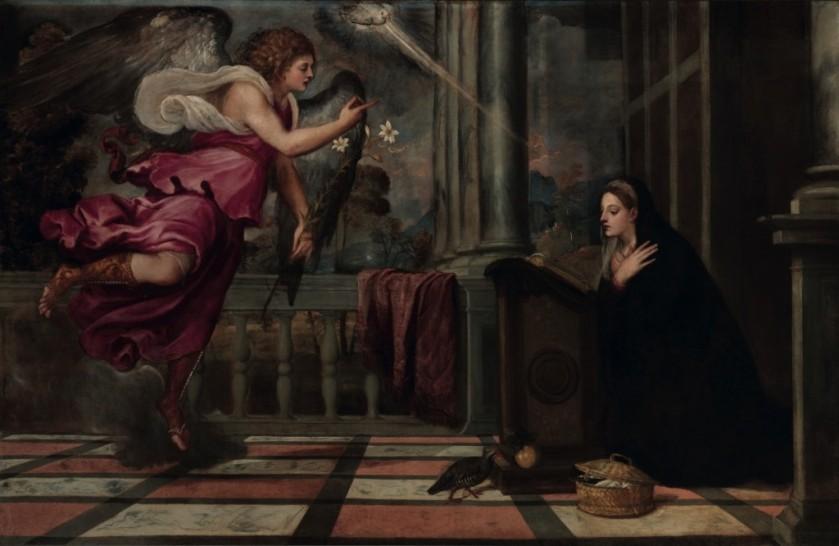 Tiziano, L'Annunciazione , olio su tela (166x266) 1535