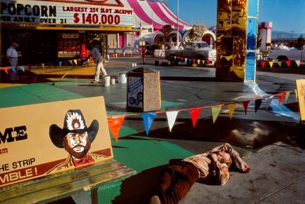 USA. Nevada. Las Vegas. Drunken man on a Casino parking lot. 1982.