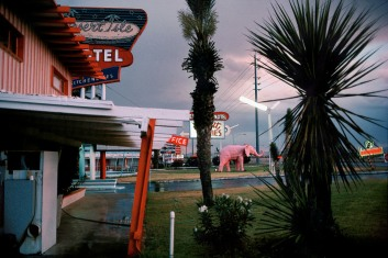 USA. Nevada. Las Vegas. Entrance to the Desert Isle Hotel. 1982.