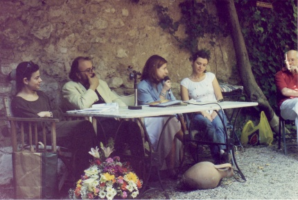 Μάνια Παπαδημητρίου, Μάριος Σπηλιόπουλος, Φωτεινή Φραγκούλη, Εύη Τσακνιά. Πάτρα, βιβλιοπωλείο Πολύεδρο, Μάιος 2005.